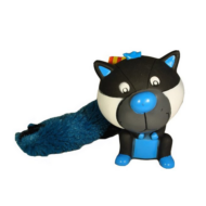 0,7124C  Plüss+gumi mosómedve plüss farokkal - kék 13cm